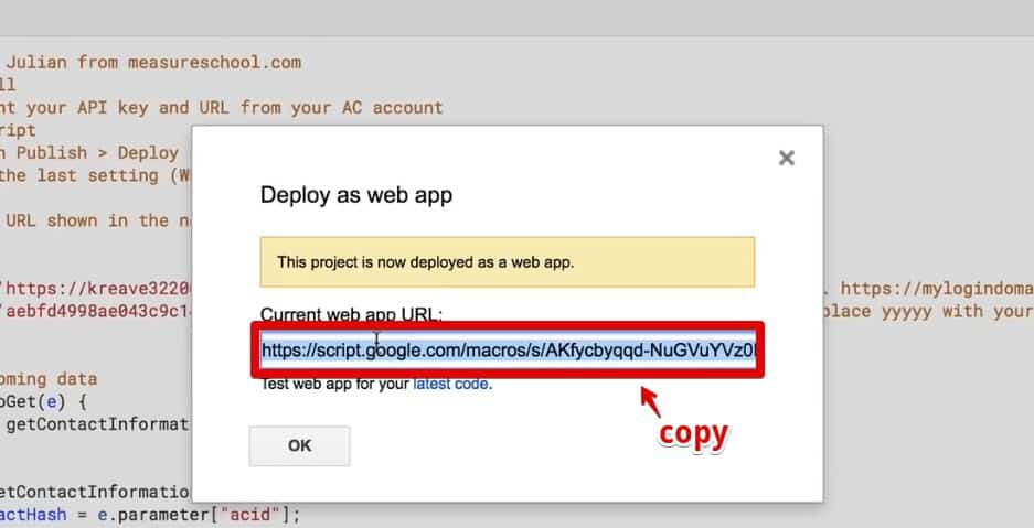 Copying the Current web app URL