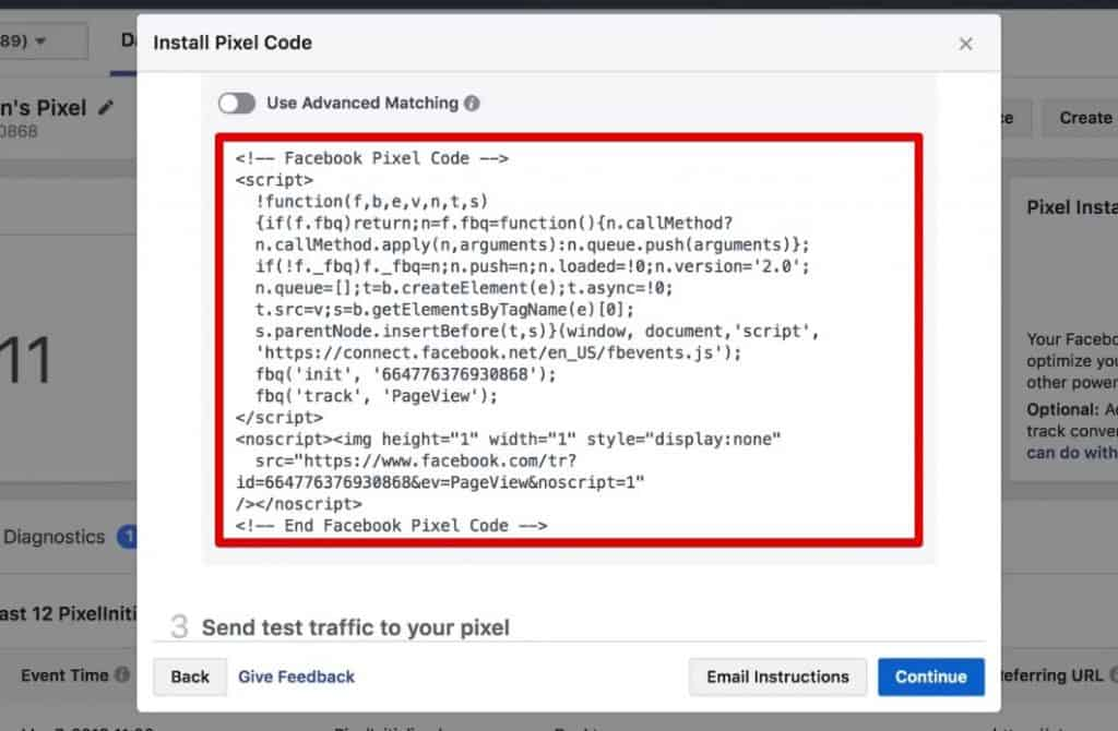 Copying the Facebook Pixel Code to install it manually on your website