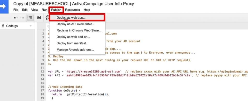 Deploying the App Script as a web app