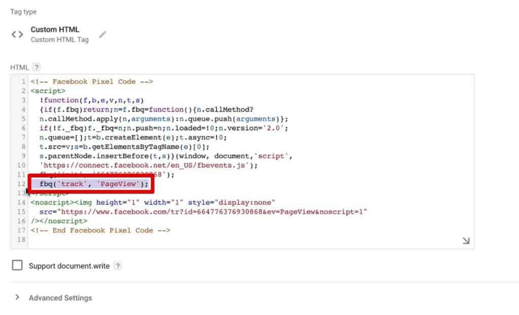 Event tracking part of Facebook Pixel code