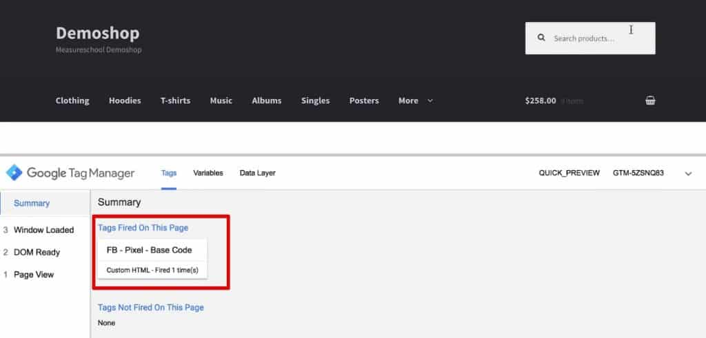 Base code Tag is fired in the preview and debug console of Google Tag Manager
