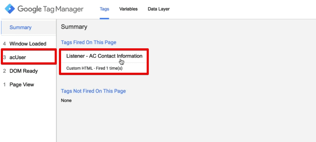 Listener Tag fired on the web page and acUser special event is created in Google Tag Manager