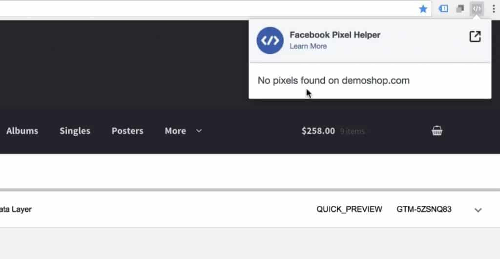 No pixels found in the Chrome extension Facebook Pixel Helper