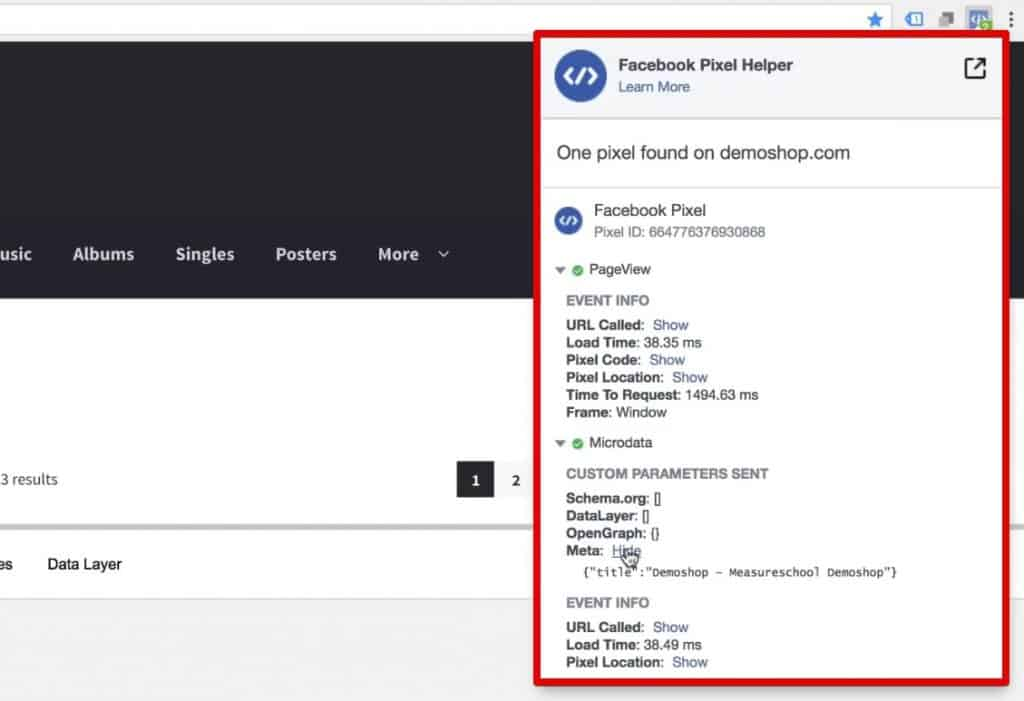 PageView fired and Microdata picked up by the Facebook Pixel Helper