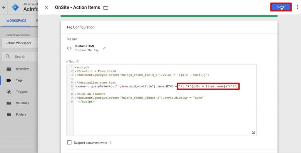 Personalizing the website greeting text with the Onsite-Action Items Tag in Google Tag Manager