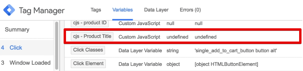 Product Title variable returns as undefined in the preview and debug console