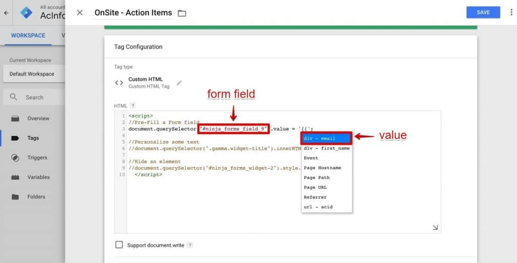 Replacing the form field of the newsletter with variable email in the configuration of Onsite-Action Items Tag