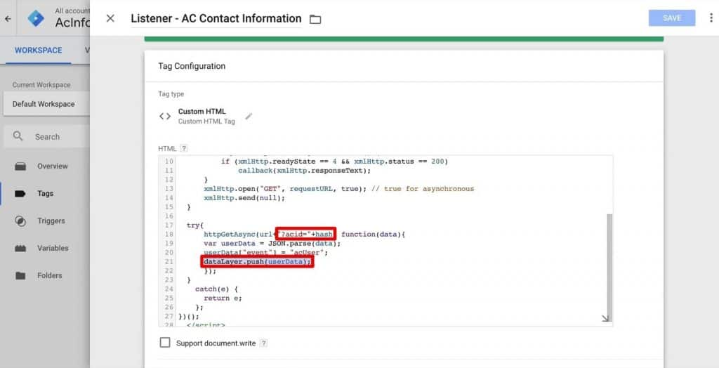 The ActiveCampaign ID hash gets passed onto the Data Layer in Google Tag Manager