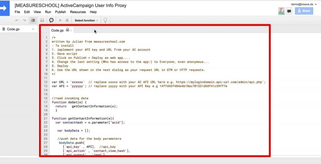 The Apps Script code which will act as the API Proxy