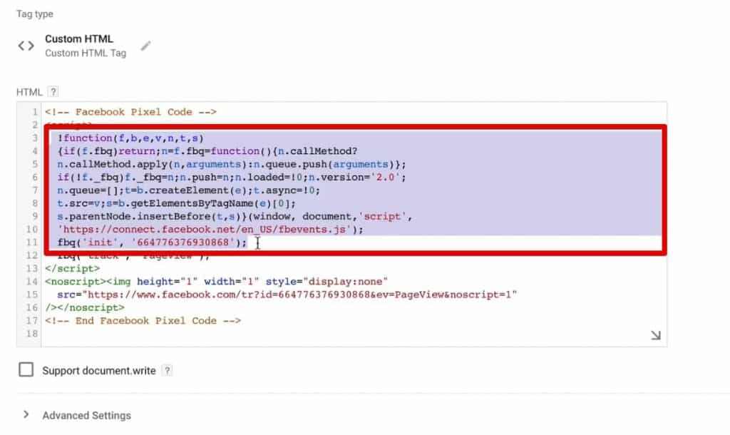 The base tracking part of Facebook Pixel Code