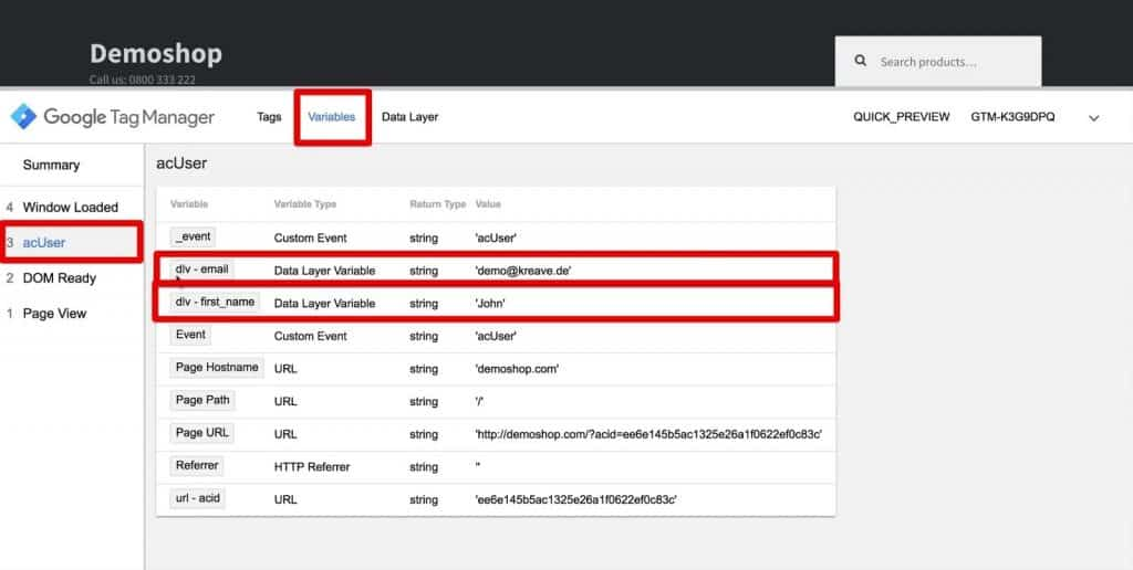 Variable dlv- email and dlv-first_name under acUser event in Google Tag Manager