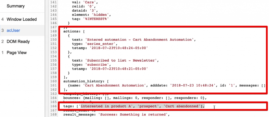 acUser data layer information on actions, automation_history, and tags of a particular user