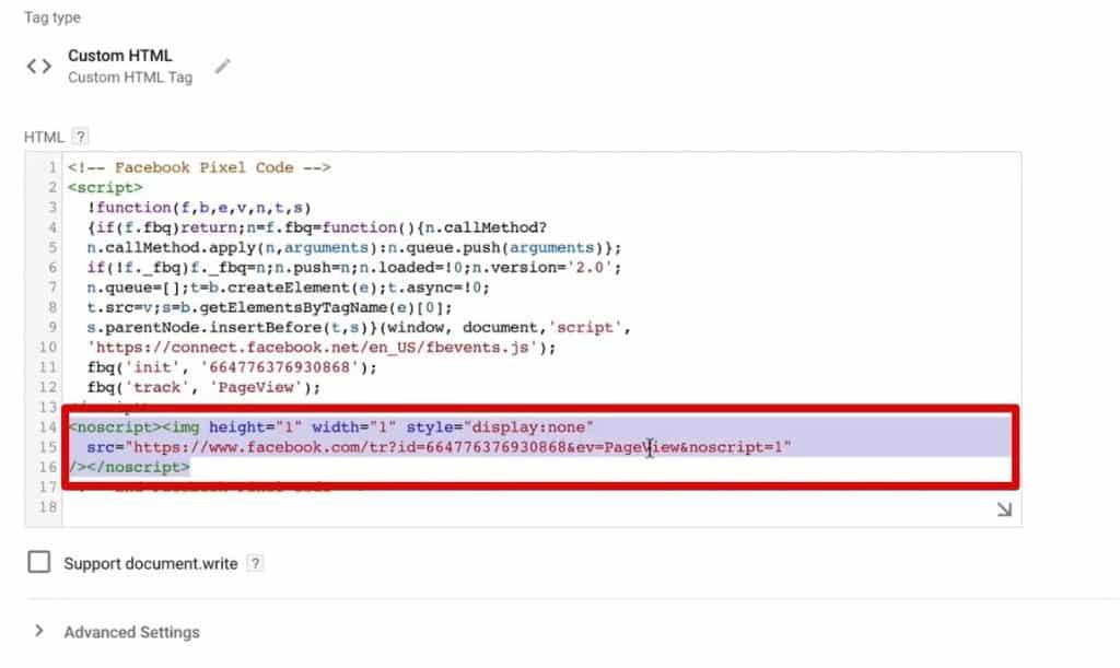 noscript Tag of Facebook Pixel Code