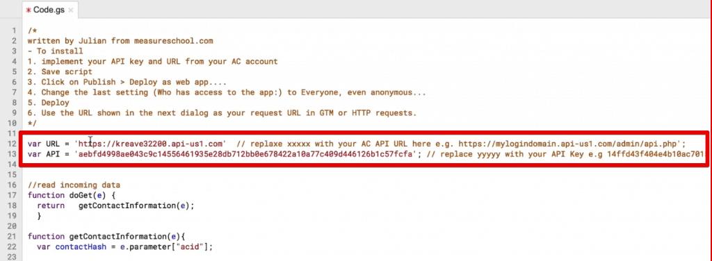 var URL and var API added to the App Script
