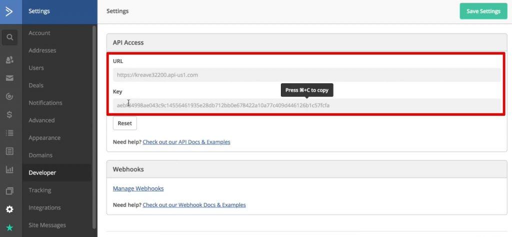 var URL and var API under the Developer tab of ActiveCampaign account