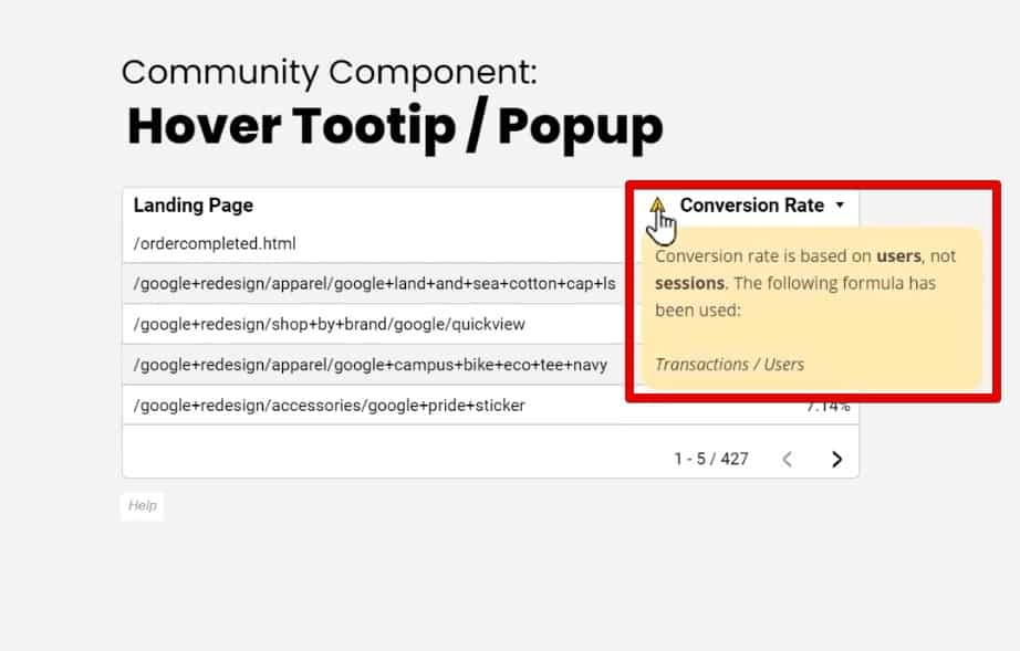 Additional information about the metric in the popup on the web page