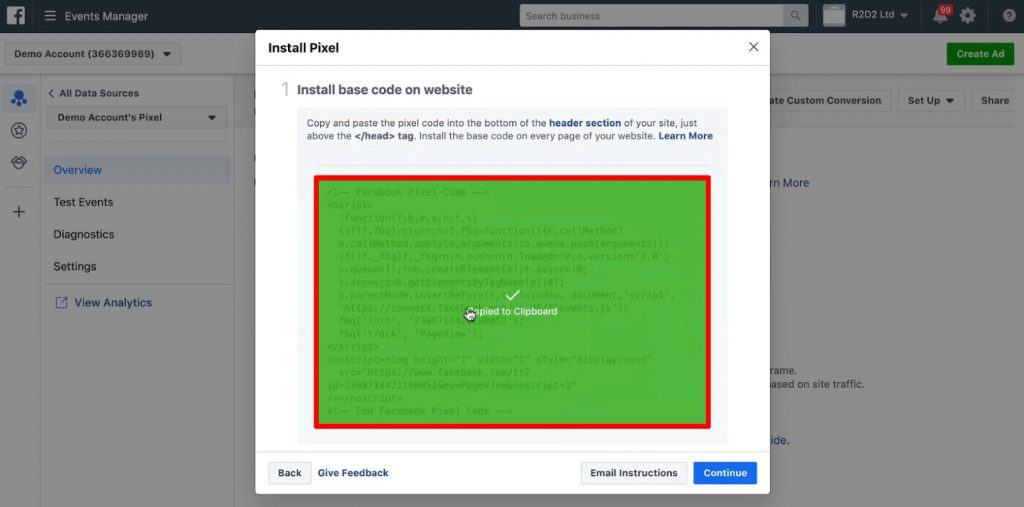 Base code to install Facebook Pixel on the website