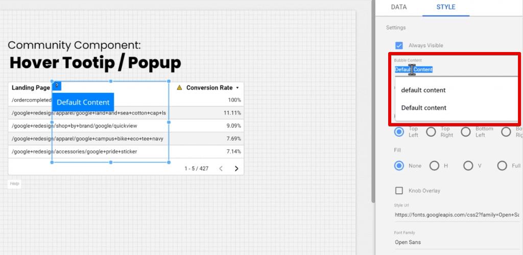 Bubble Content configuration in Google Data Studio