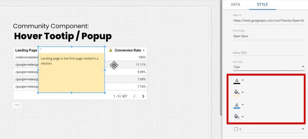 Color customization under the Style tab of Google Data Studio