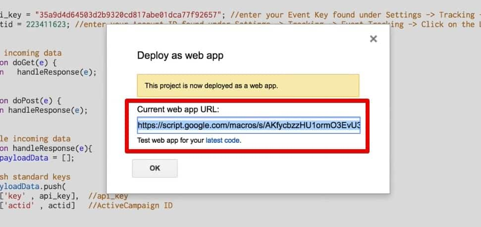 Current web app URL generated