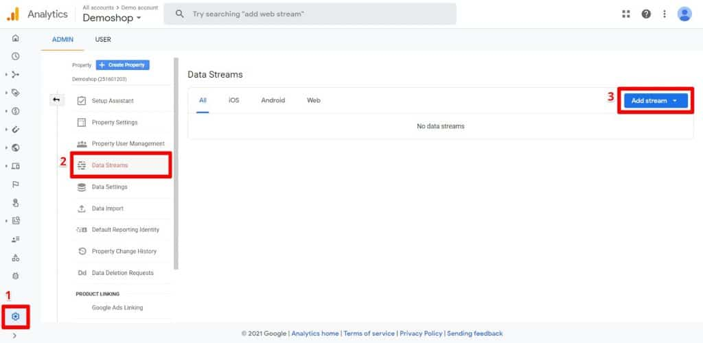 GA4 Admin panel Data Streams page with Add stream button highlighted