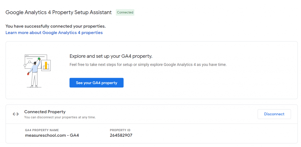 GA4 Property Setup Assistant successfully connected properties, Universal Analytics view