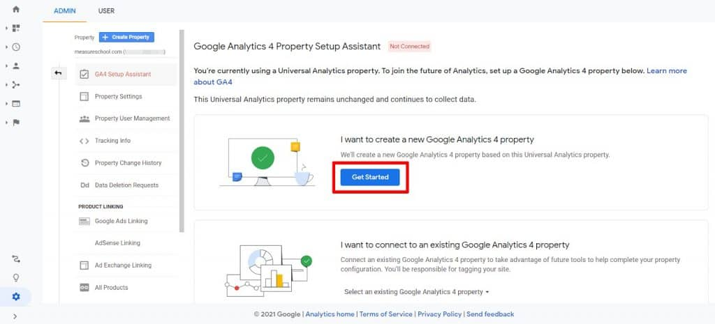 Google Analytics 4 Property Setup Assistant wizard with get started button highlighted