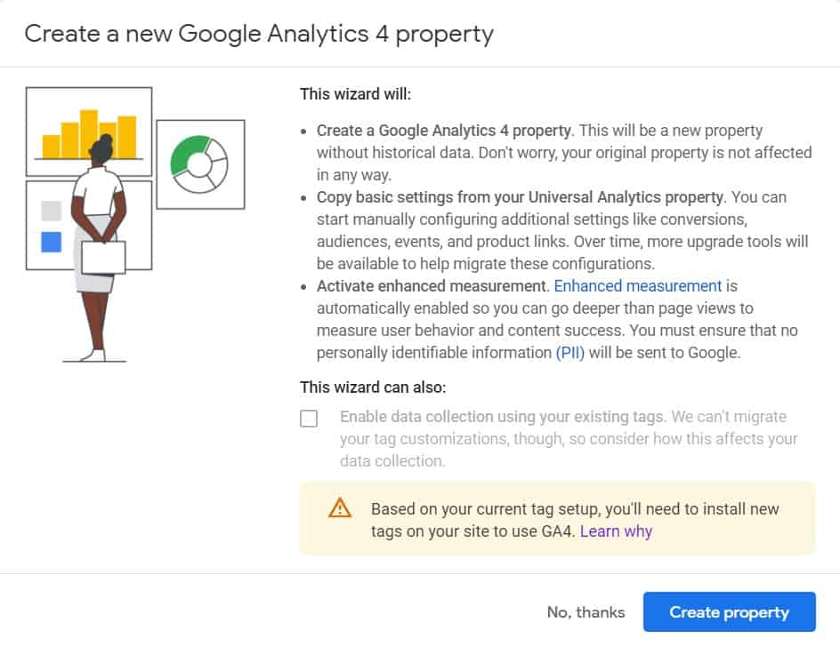"""Google Analytics 4 Setup Assistant wizard popup with error message """"Based on your current tag setup, you'll need to install new tags on your site to use GA4"""""""