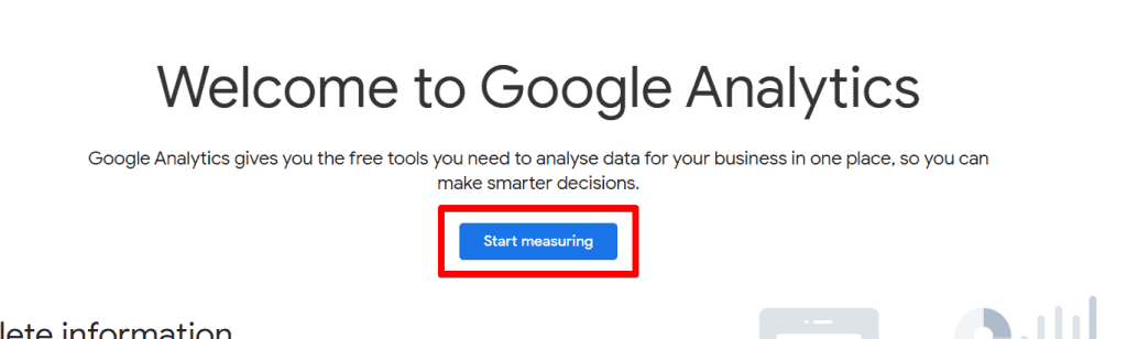 Google Analytics welcome screen with Start Measuring button highlighted