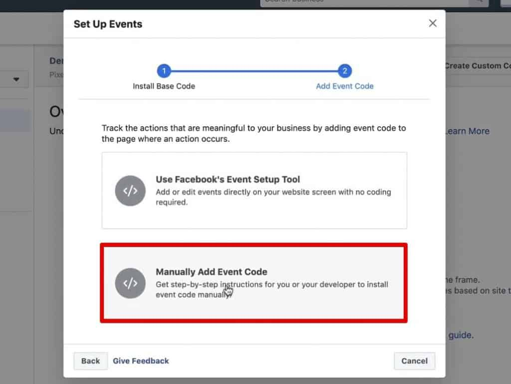 Manually add event code from Facebook Pixel to fire a custom event