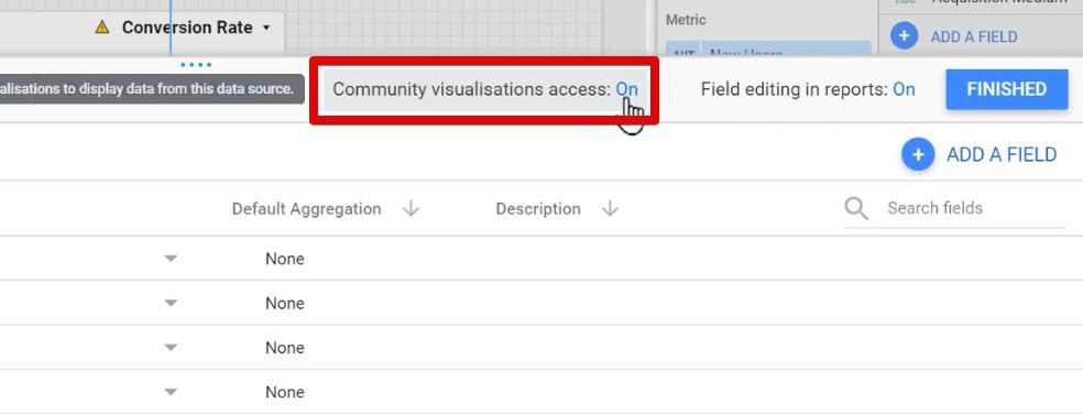 Setting the Community visualisations to On in Google Data Studio