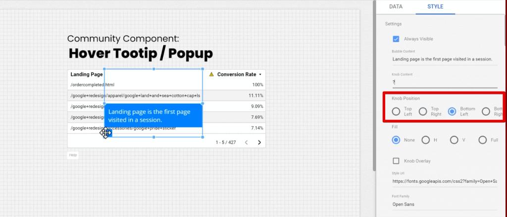 Setting the Knob Position in Google Data Studio