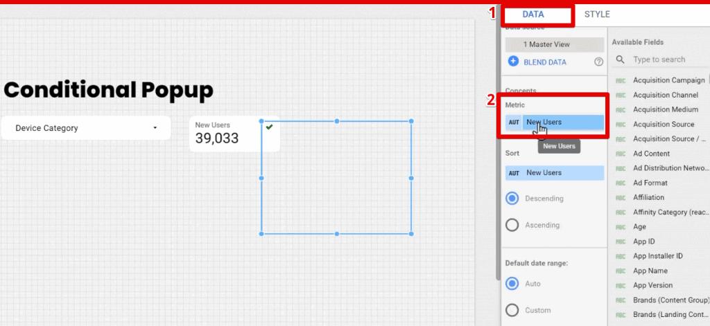 Setting up the Metric under the Data tab of Google Data Studio