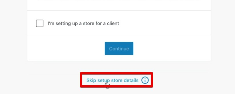 Skipping the store details setup on the eCommerce site