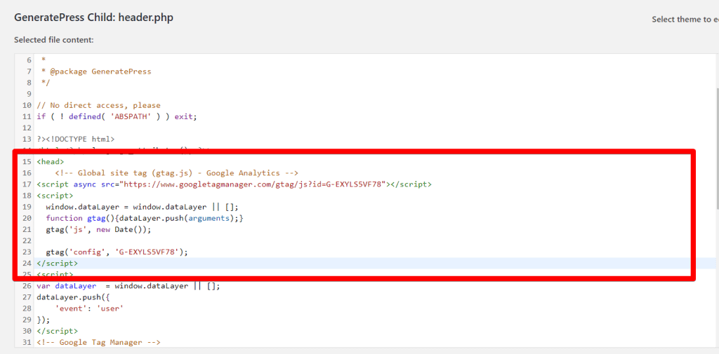 WordPress theme editor with gtag code pasted in after the head tag