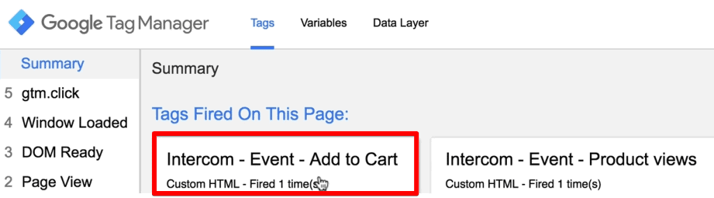 Add to cart button click Tag fired in the debug console of Google Tag Manager
