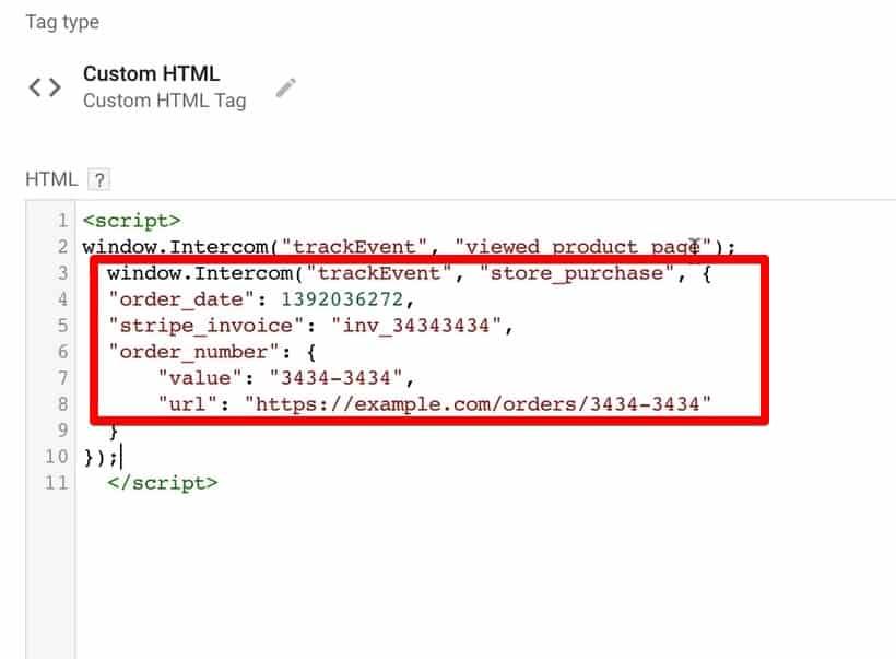 Adding Intercom custom event tracking code to Google Tag Manager