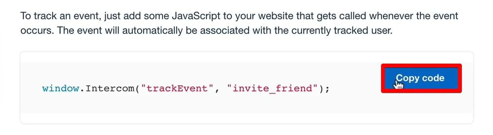 Code for tracking event in our Intercom account