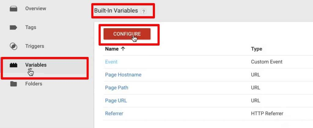 Configuring built-in variables in Google Tag Manager