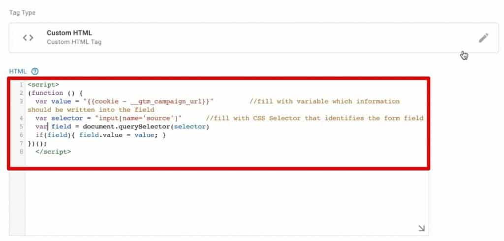 Creating a Custom HTML Tag in Google Tag Manager to fill the form with UTM parameters stored in a cookie