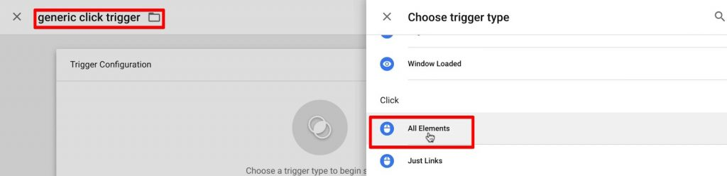 Creating an All Elements trigger to track button clicks in Google Tag Manager
