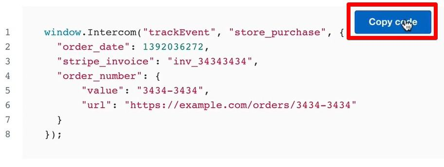 Custom events code for event tracking in the Intercom account