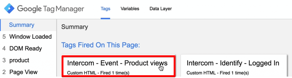 Intercom event tracking Tag has fired in Google Tag Manager