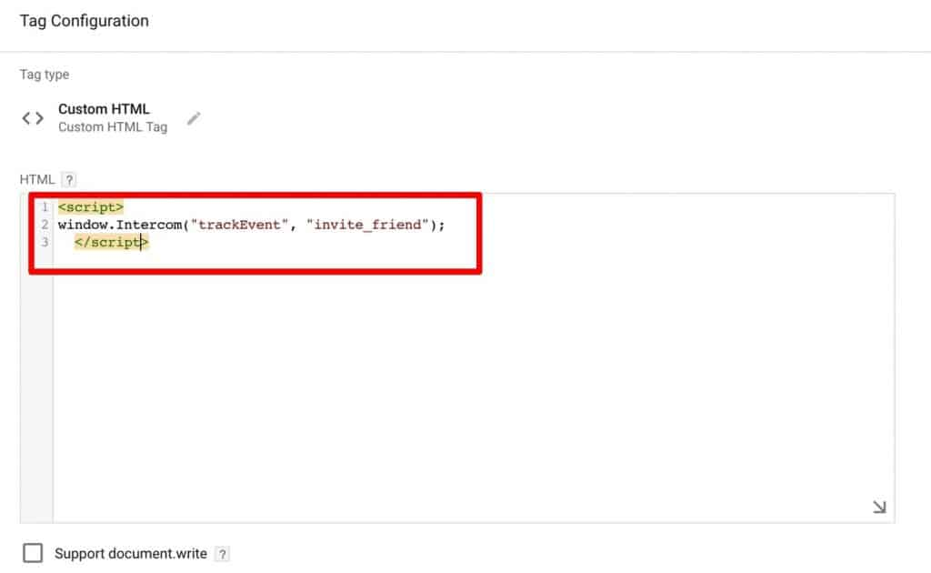 Pasting the event tracking code in the Custom HTML Tag of Google Tag Manager