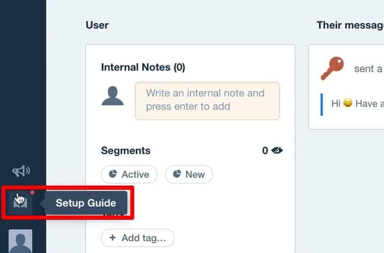 Setup Guide menu for event tracking in the Intercom account