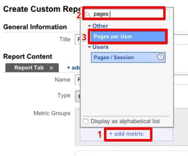 Adding metric using Pages per User which is listed under Others