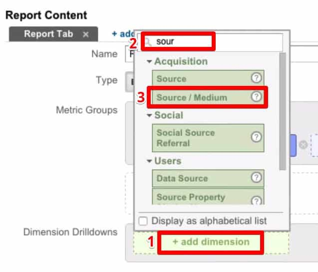 Breaking down your report to see the distribution of your custom metric across different dimensions by adding dimension which is the  Source/Medium