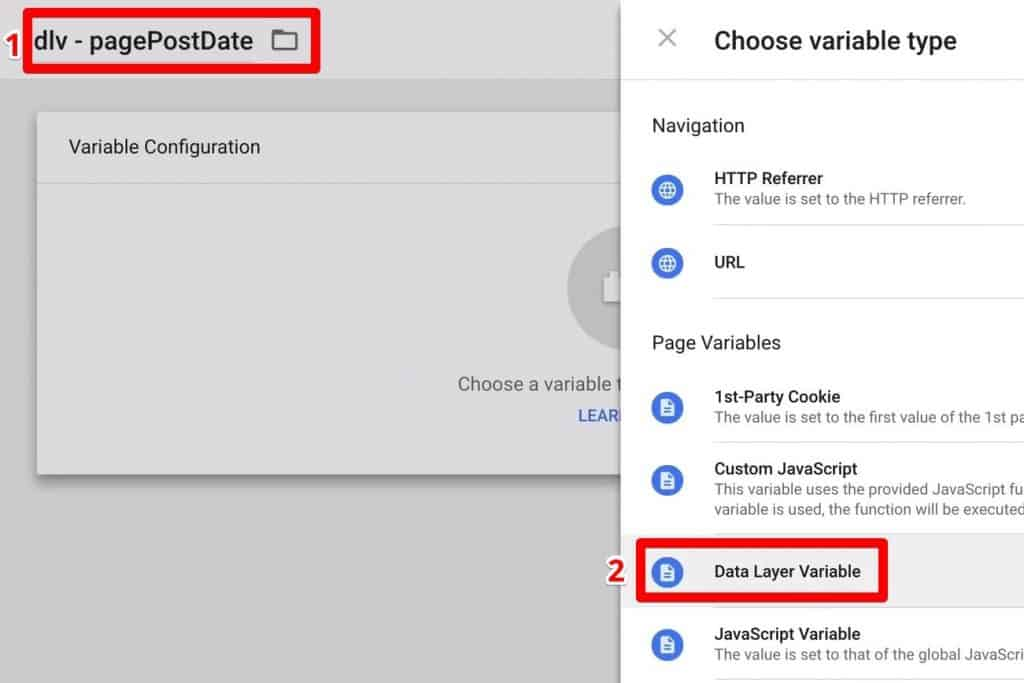 Building a Data Layer Variable named dlv - pagePostDate
