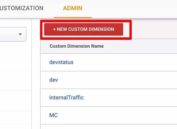 Create a New Custom Dimensions in Google Analytics