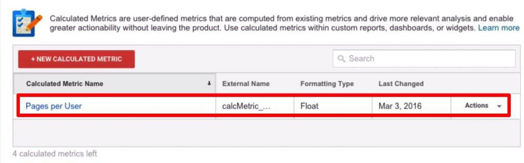 Created Calculated Metrics with the name Pages per User and the Formatting type is Float